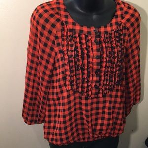 Divided By H&M Tops - Divided Womens Orange&Black Plaid Ruffle Blouse 36